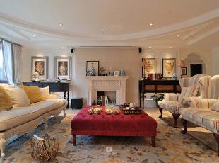 ,200平,20万,四居,现代,客厅,黄白,