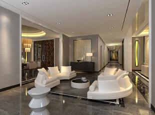 休闲区空间装饰多采用简洁硬朗的直线条,搭配整洁干净的白色,反映出业主追求简单生活的居住要求,更迎合了中式家具追求内敛、质朴的设计风格。,220平,40万,现代,别墅,客厅,白色,