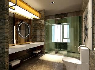 主卫生间的地面及墙面运用了天然大理石做饰面,显示豪气尊贵。真正的体现了简约而不简单的内在。整体空间稳重大气、实用美观、功能齐全。让每个细节都能感受到设计的元素无处不在!,220平,40万,现代,别墅,卫生间,褐色,黑色,