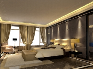 主卧室背景墙采用了舒适的软包造型,与中式雕花的艺术玻璃点缀,使古典和现代的完美结合在此空间体现得淋漓尽致。,220平,40万,现代,别墅,卧室,黑色,黄白,灰色,