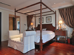 ,200平,20万,四居,现代,卧室,白色,红褐色,