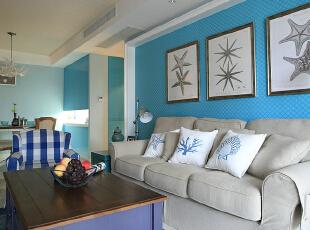 ,240平,20万,美式,四居,客厅,白蓝,