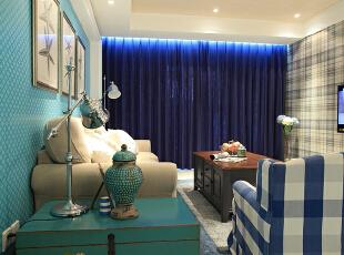 ,240平,20万,美式,四居,客厅,蓝色,