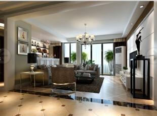 客厅采呈现空间立体层次感。开启客厅中的吊灯和射灯照射在地砖上,深灰色的沙发,高贵大气。,142平,9万,现代,三居,
