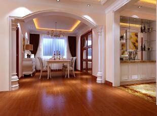 【南昌实创整体家装】欧式经典餐厅效果图,129平,16万,欧式,三居,餐厅,