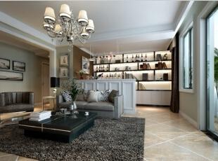 吧台作为沙发墙,独具匠心,142平,9万,现代,三居,