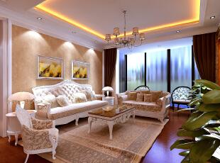 【南昌实创整体家装】欧式经典客厅效果图,129平,16万,欧式,三居,客厅,