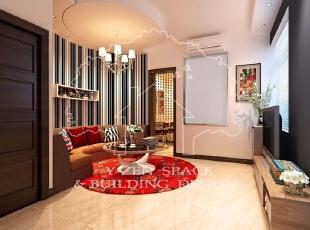 业主客厅面积不大,采用圆弧形的设计增加客厅面积,整体柔和。条纹壁纸增加视觉拉伸感,空间感更强,75平,10万,现代,两居,客厅,