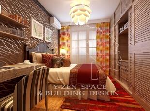 女主人注重收纳空间。但卧室空间有限,考虑到这一点,采用一体柜设计,不但收纳功能得以解决,而且节约空间,75平,10万,现代,两居,卧室,