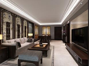 ,133平,4万,中式,三居,客厅,原木色,餐厅,