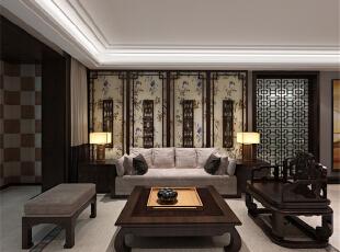 ,133平,4万,中式,三居,客厅,原木色,黑白,