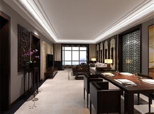 ,133平,4万,中式,三居,客厅,餐厅,原木色,