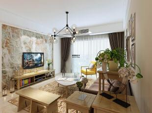 维也纳森林88平方两室两厅现代简约装修效果图 客厅     原木色的家具搭配上绿植,有种返璞归真的感觉,干净、清爽,现代感很强,88平,5万,现代,两居,客厅,白色,