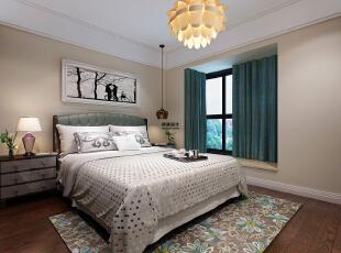 维也纳森林88平方两室两厅现代简约装修效果图 卧室     卧室的莲花灯看上去很独特,木地板增加了温馨的感觉,右边床头柜的吊灯也是设计感十足,88平,5万,现代,两居,卧室,白色,