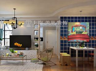 普罗旺世地中海混搭装修89平两室两厅样板间效果图——客餐厅布局,性的地中海色调墙砖跟白色乳胶漆墙面形成一种对比,两种风格相互融合,是一种现代清新、年轻时尚的个性定制风格。,89平,6万,混搭,两居,普罗旺世装修,美巢装饰,装修装饰,装修优惠,装修团装,餐厅,白蓝,