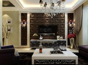 客厅大气、简约、沉稳,采用了软包、壁纸等高档材质。没有过多累赘复杂的造型,体现了主人的内蕴品性。沙发造型与地毯颜色的设计打破以往的搭配,突出了空间稳重而活跃。,140平,11万,欧式,三居,客厅,棕色,白色,
