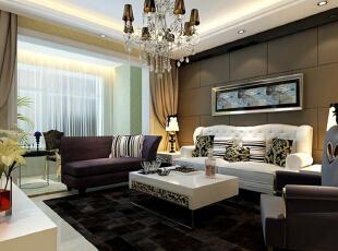 ,140平,11万,欧式,三居,客厅,棕色,白色,