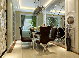 餐厅区域比较狭窄,在设计的过程中运用了艺术切面镜子,使原本狭窄的空间显得通透明亮,简单的墙面造型与墙纸巧妙的色彩融合,使得整体空间深远、温馨,充满了家和谐的氛围。,140平,11万,欧式,三居,餐厅,黄白,