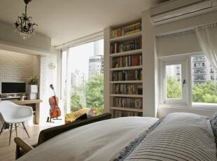 敞亮采光大面积的单面采光,让起居室及卧床区拥有绝佳的绿影窗景。,39平,4万,田园,一居,卧室,白色,