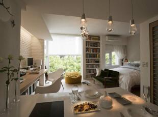 小坪数大空间将作设计以LOFT的大通仓概念,打造市中心的精品概念窝。,39平,4万,田园,一居,卧室,白色,