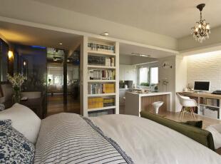 环状双动线客变过得格局,日光由卧房起始的双动线照亮每一个开放设计串联的独立场域。,39平,4万,田园,一居,卧室,白色,