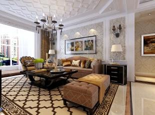 ,126平,14万,欧式,三居,客厅,白色,
