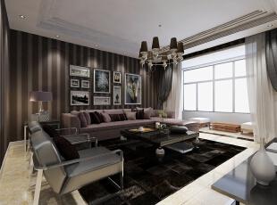 ,140平,16万,现代,三居,客厅,黑白,