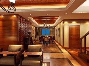 ,400平,35万,地中海,复式,客厅,原木色,
