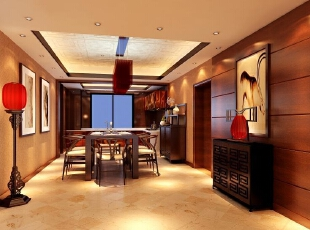 ,400平,30万,中式,别墅,餐厅,餐厅,棕色,黄色,