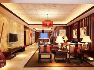 ,400平,30万,中式,别墅,客厅,原木色,黄色,