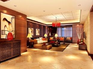 ,400平,30万,中式,别墅,客厅,黄色,