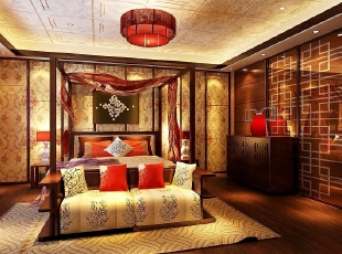 ,400平,30万,中式,别墅,卧室,原木色,黄色,