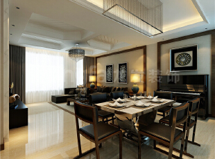 ,240平,128万,中式,三居,客厅,餐厅,现代,黑白,红色,