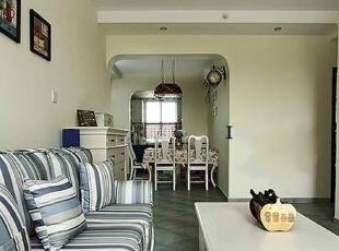,72平,10万,地中海,三居,实创装饰,客厅,白色,