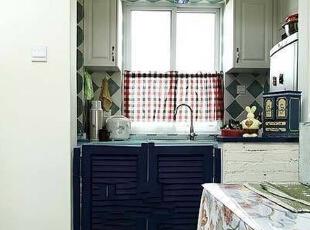 ,72平,10万,地中海,三居,厨房,白蓝,