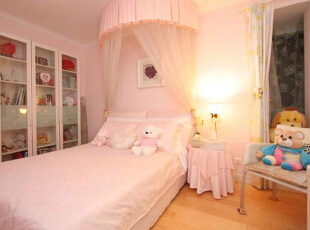 ,72平,10万,地中海,三居,卧室,粉红色,