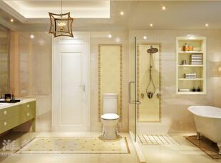 景天怡苑140平错层复式简欧风格装修效果图-卫生间效果图,140平,10万,欧式,复式,卫生间,黄白,
