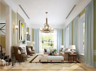 郑州景天怡苑140平错层复式简欧风格装修方案-客厅效果图,140平,10万,欧式,复式,客厅,白蓝,