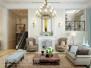 景天怡苑140平错层复式简欧风格装修效果图-客厅效果图,140平,10万,欧式,复式,客厅,白蓝,
