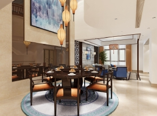 餐厅是整个房间中唯一挑空的空间,为了完美过渡到客厅,整个空间以白色做底,使得空间连贯自然。餐厅用圆桌作为餐桌,四周围绕六把变形后的中式圈椅,保留了木质的本色,搭配流畅的造型,提高了空间的整体流畅感。,400平,60万,中式,别墅,餐厅,原木色,