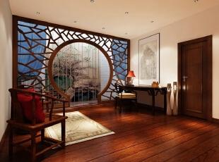 三层书房整个居室的设计以木色家具为主,配以蓝色软配作为点缀,使得空间不会过于严肃呆板,浮现出一缕生机和活力。,400平,60万,中式,别墅,原木色,白蓝,