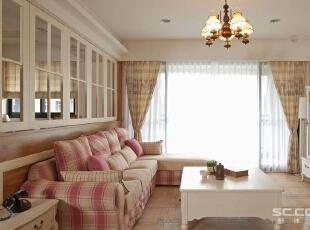 ,92平,13万,田园,两居,客厅,浅木色,白色,
