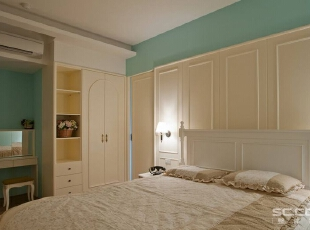 ,92平,13万,田园,两居,卧室,浅绿色,白色,