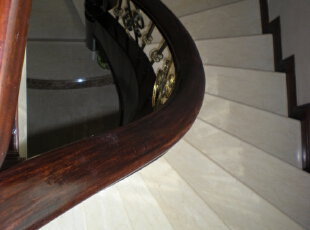 弧形现浇楼梯(工人自己做)不是定制楼梯,240平,60万,混搭,复式,楼梯,原木色,白色,