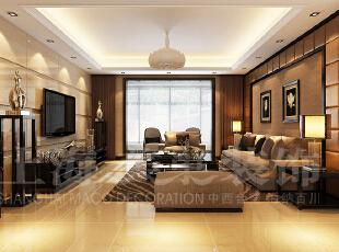 天地湾127平三室两厅简欧风格客厅装修效果图,127平,6万,欧式,三居,客厅,褐色,黄白,