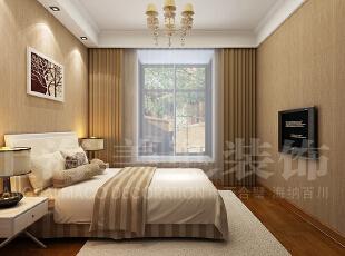 天地湾127平3室2厅简欧风格卧室装修效果图,127平,6万,欧式,三居,卧室,黄白,