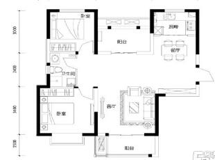 天地湾127平三室两厅简欧风格装修户型图,127平,6万,欧式,三居,