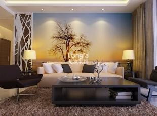 ,100平,3万,现代,两居,客厅,白色,蓝色,黄色,