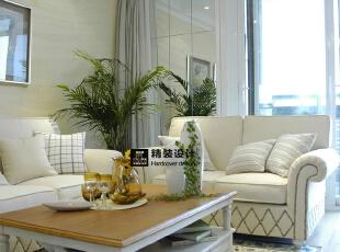 思念·果岭悦庄B1户型124平方简欧装修效果图 客厅,124平,10万,欧式,别墅,客厅,黄白,