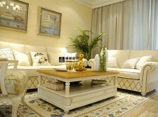 思念·果岭悦庄B1户型124平方简欧装修效果图 客厅,124平,10万,欧式,别墅,客厅,黄色,